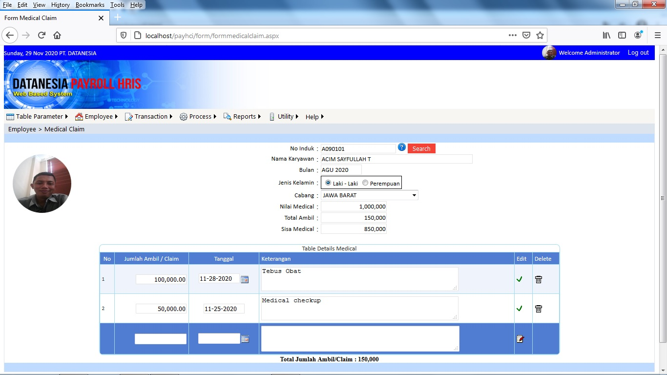 Form Medical Claim Software Payroll Web Base