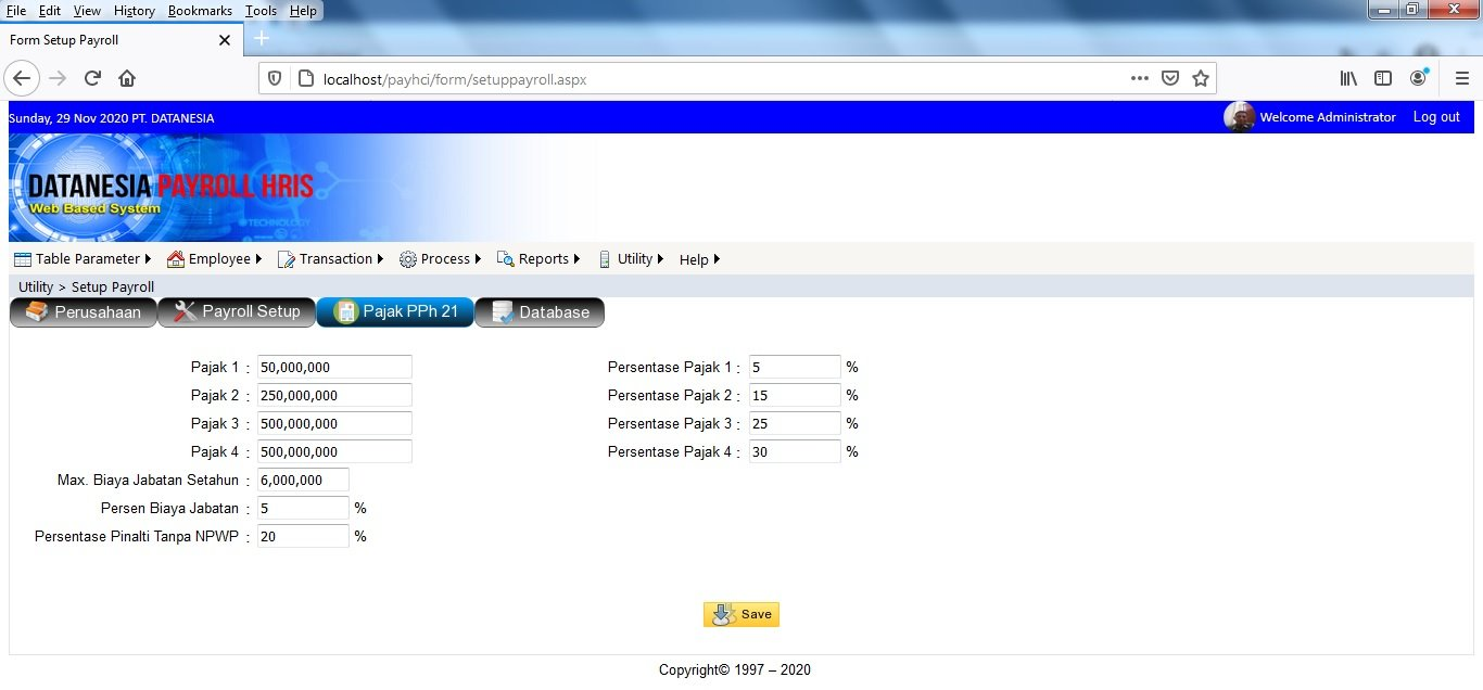 Form PPh21 Payroll Software Web Base