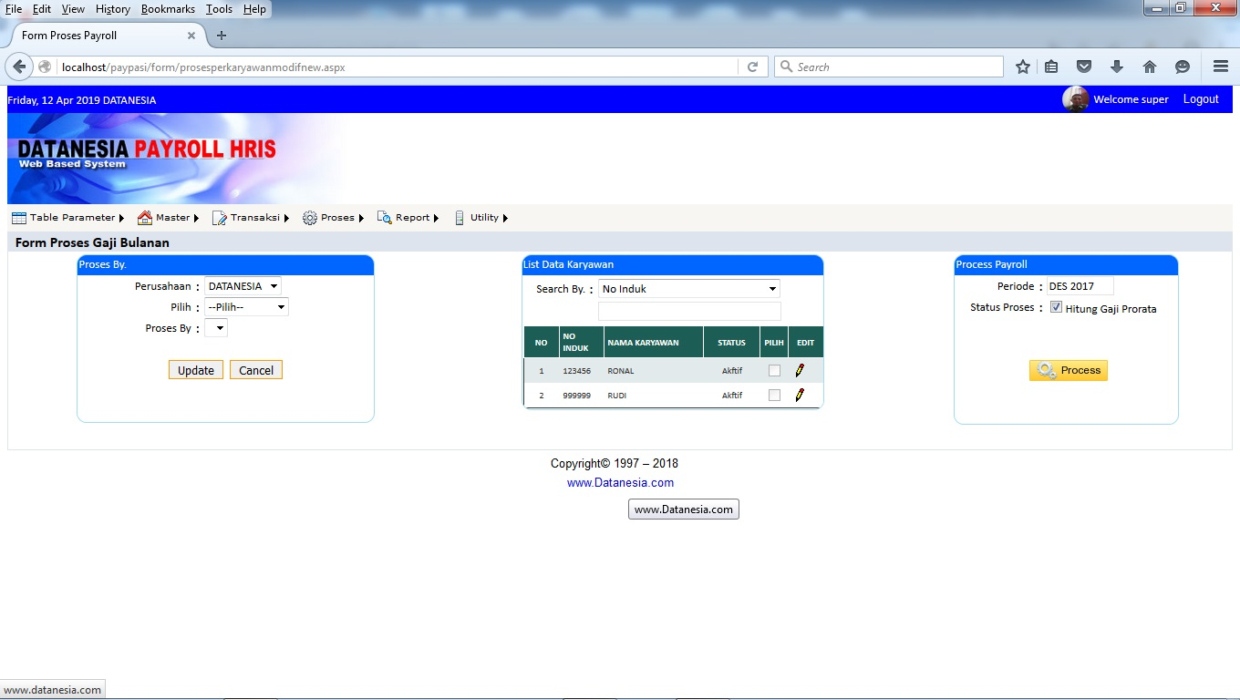 Form Proses Perhitungan Gaji Payroll Software Web Base
